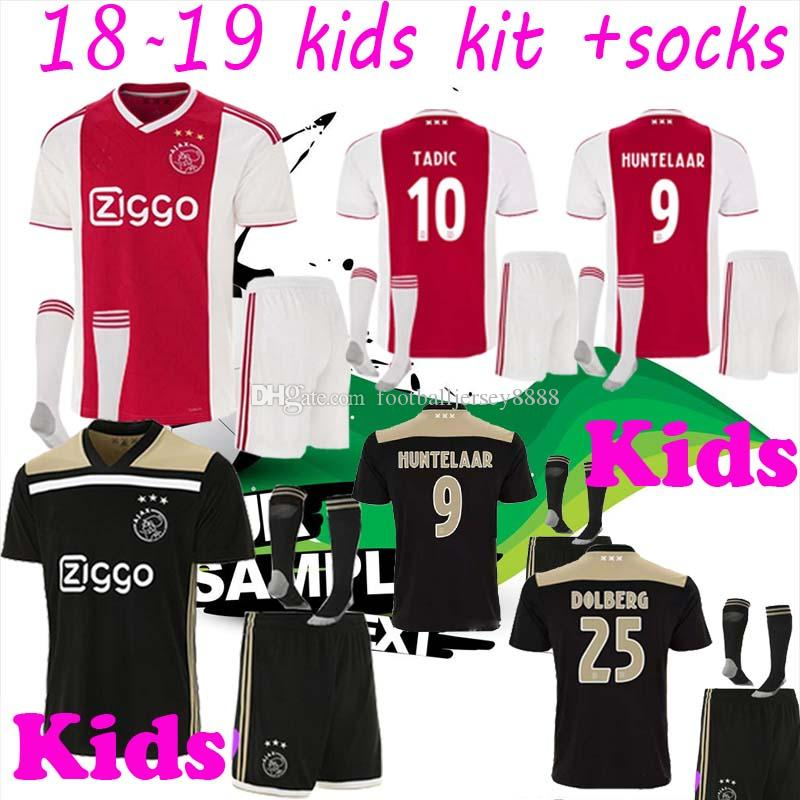 cc7c5f526 2019 Kids Kits +Socks 18 19 Ajax FC Soccer Jersey Huntelaar NERES TADIC 25  Dolberg NERES SCHONE 34 Nouri 2018 2019 Custom Football Shirt From ...