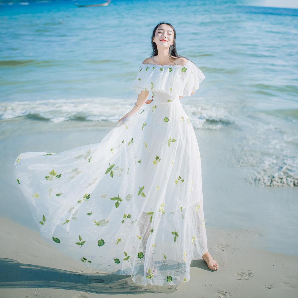 2018 Slash Neck Elegant Holiday Beach Dress Bohemian People Mexican ...