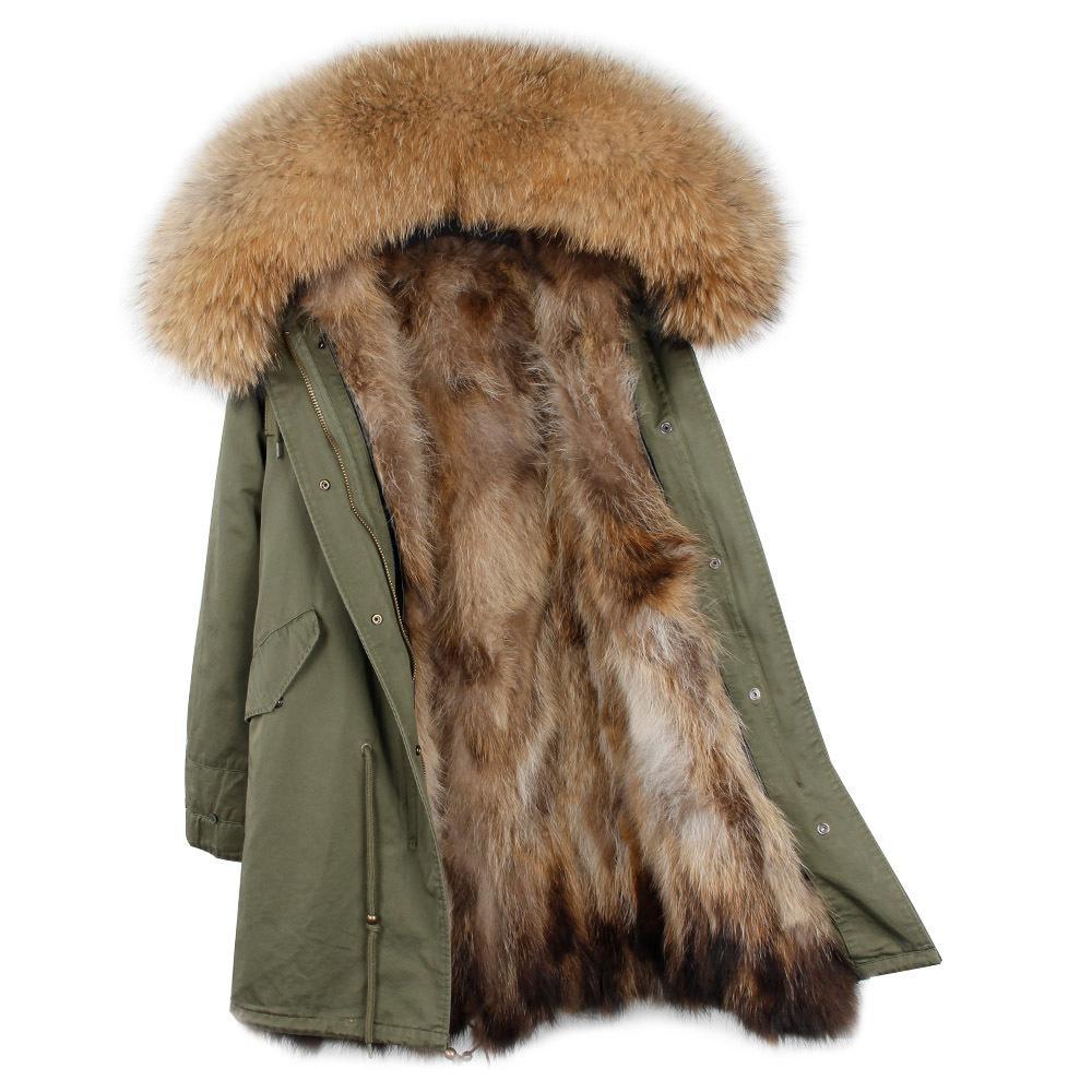 f2600d3493 Giacca invernale di marca donna 2018 lungo cappotto di volpe femminile  giacche calde collo di procione naturale vera pelliccia foderato Parka ...