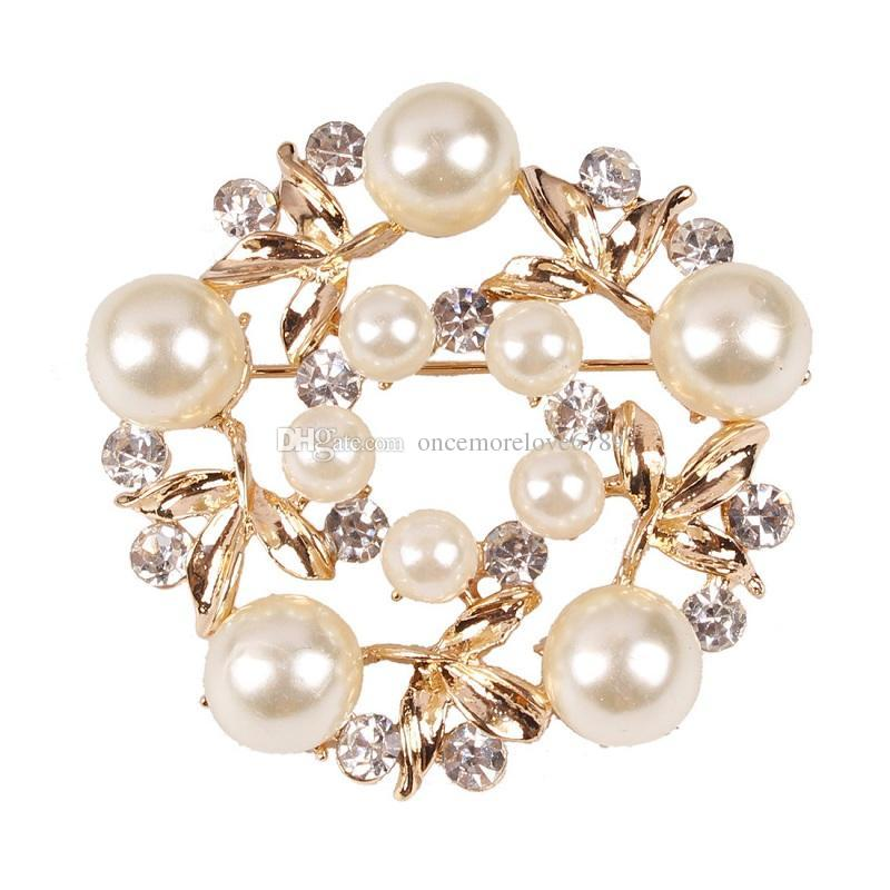 new Crystal luxury gold Imitation pearl brooch for women Jewelry top grade fashion clothes accessories