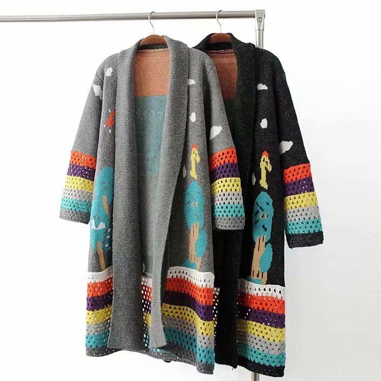 Winter Frauen Gestrickte Pullover Mäntel Frauen Nette Häkeln Lange Poncho Pullover Öffnen Stich Druck Lange Strickjacken Mantel