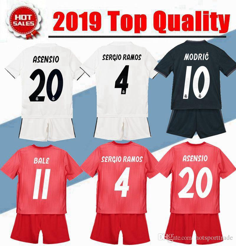 bc25b7b0496 Kids Kit 2018 2019 Real Madrid Soccer Jersey 18 19 Youth Boy Child ...