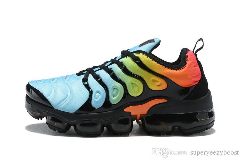 2019 Designer PLUS TN zapatillas para hombre para mujer Nuevo Negro Rojo Amarillo Azul Zapatillas de correr de la mejor calidad Zapatillas de deporte Tamaño 36-45