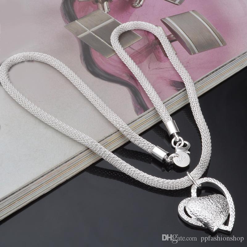 Livraison gratuite charmes flottants argent 925 bijoux femmes collier chaîne incrusté coeur pendentif collier femme charme