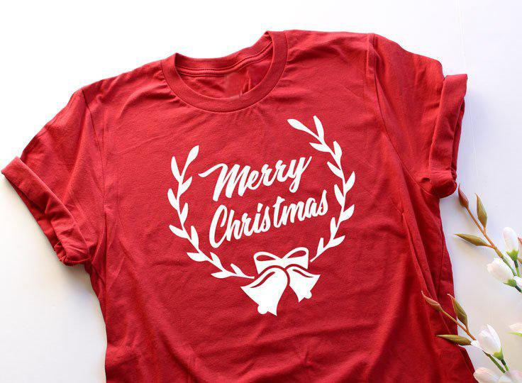 8691dea2 Women's Tee Christmas Bells Unisex Merry Christmas T Shirt Tee Holiday Gift  Family Reunion Red Graphic Vintage Cotton Causal Shirt Party Top