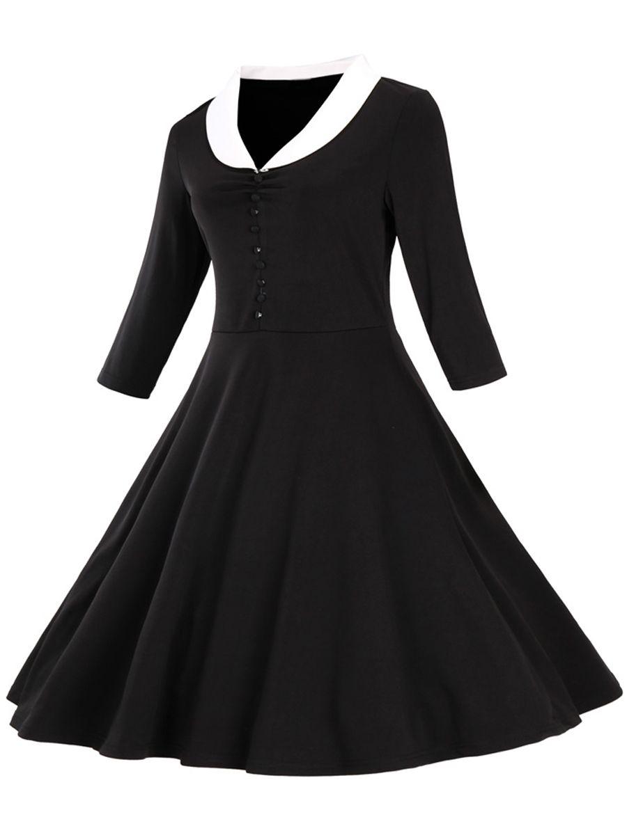 New Pure Plus Size Large Swing Dress Women Fashion Autumn Winter Long  Sleeve Vintage Dress