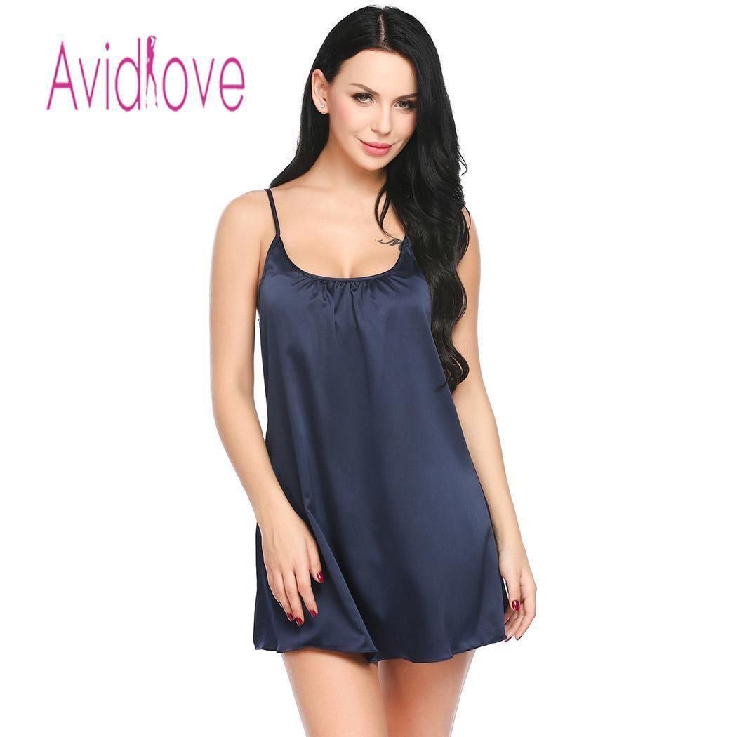 5a634b0157 Avidlove Women Night Dress Sleepwear Nighty Spaghetti Satin Patchwork Sexy  Adjustable Strap Chemise G String Lingerie Pajamas D18110801 Ladies Pyjamas  Sale ...