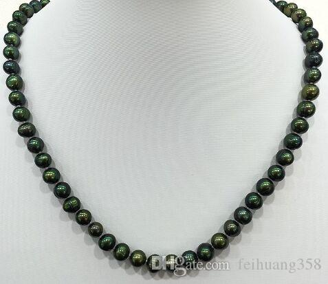 charming low price 7-8mm Promotions sale dark Malachite green real Cultured pearls necklace Classic stely choker for women