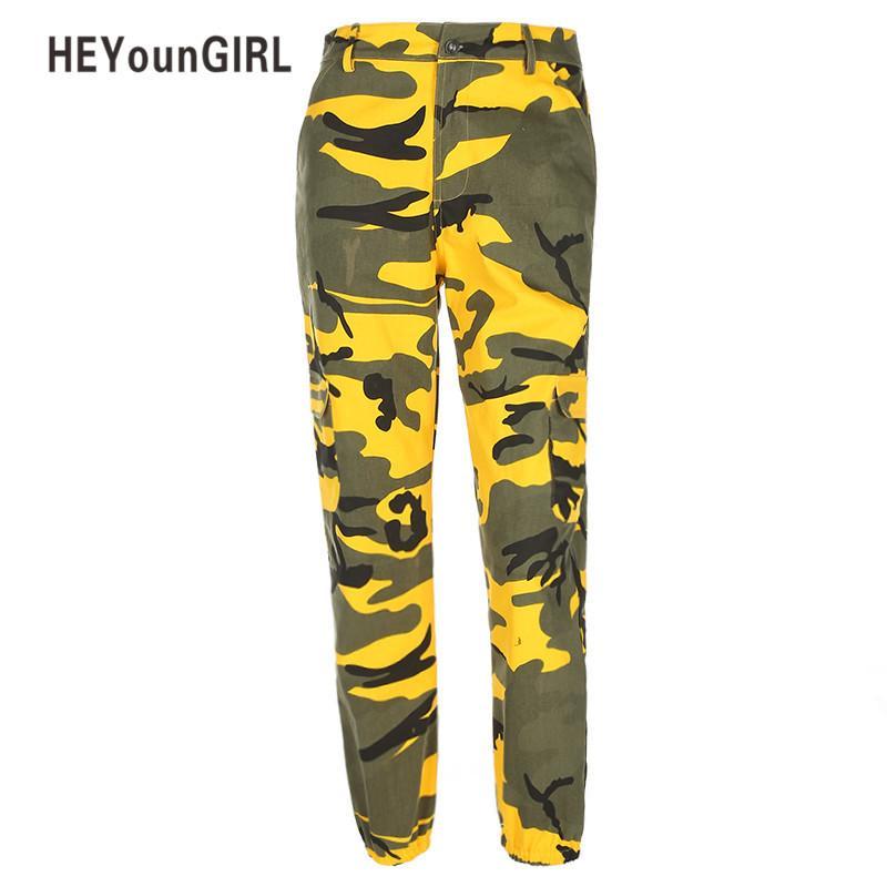 661d117097c Acheter HEYounGIRL Camo Pants Femmes Cargo Pantalons De Survêtement Jaune  Gris Camouflage Pantalon Sarouel Pantalon Mode Casual Femme Militaire  Pantalon ...