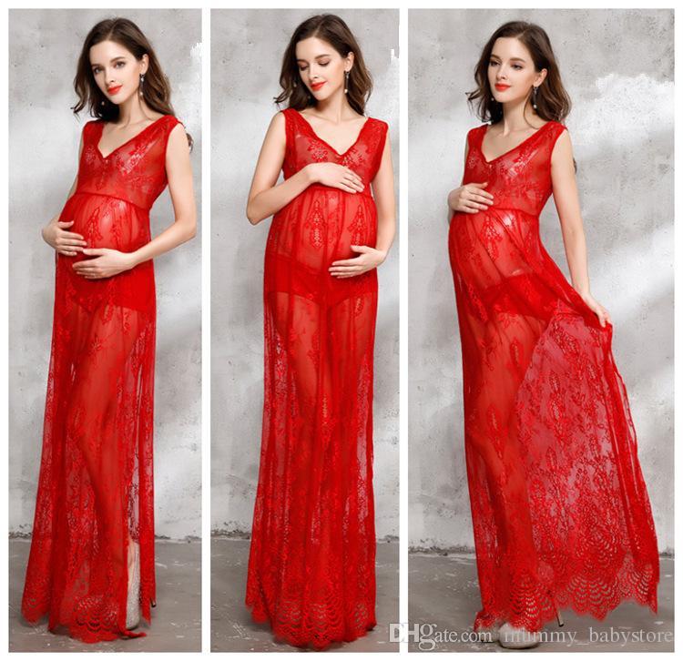 2018 Pregnancy Women Gowns Vest Dress Long Maternity Pregnant Women ...