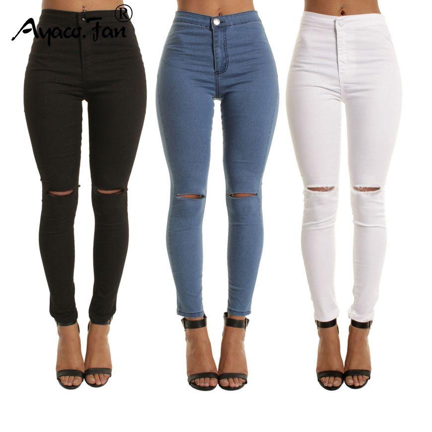 51047ca318 Acheter 2018 Automne Blanc Trou Maigre Déchiré Jeans Femmes Jeggings Cool Denim  Taille Haute Pantalon Capris Femme Maigre Noir Casual Jeans D1892501 De ...
