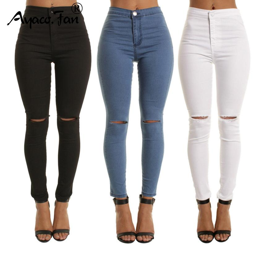 Compre 2018 Autumn White Hole Skinny Ripped Jeans Mujeres Jeggings Cool  Denim Pantalones De Cintura Alta Capris Mujer Flaco Negro Casual Jeans  D1892501 A ... 5412b9e88253