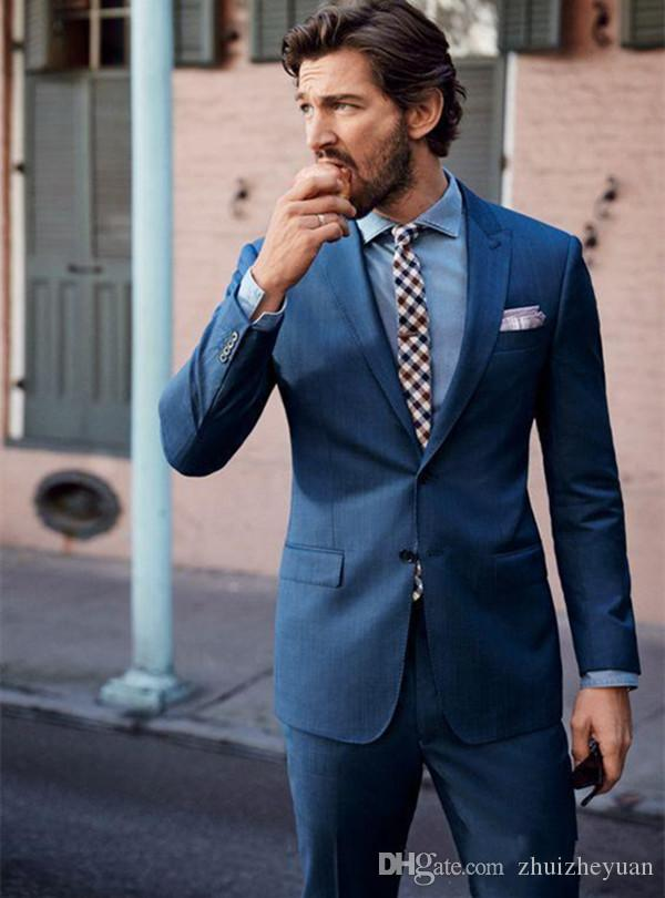 2018 New Fashion Blue Wedding Tuxedos Slim Fit Suits For Men Cheap ...