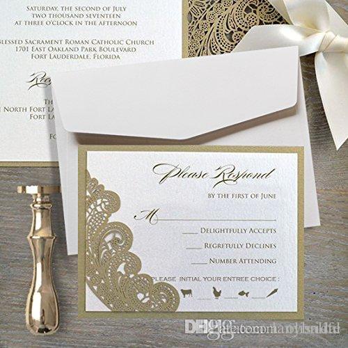 gold lace wedding invitations suite elegant laser cut invitation