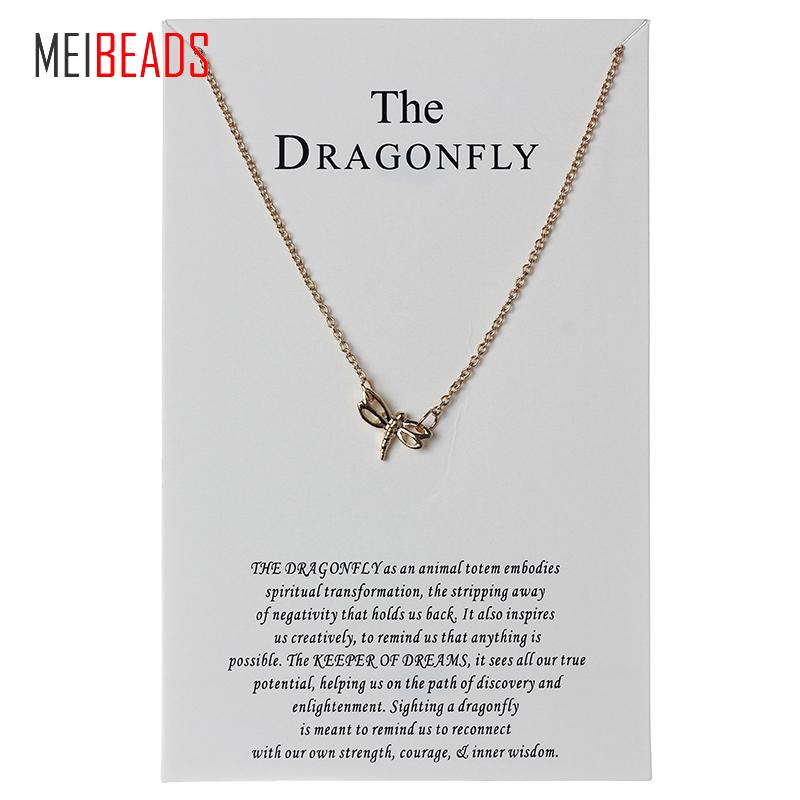 MEIBEADS Lucky Chain Wish Necklace Cute Lovely Dragonfly Alloy Charm Fashion Necklaces Pendant for Women Girls Best Gift CN84