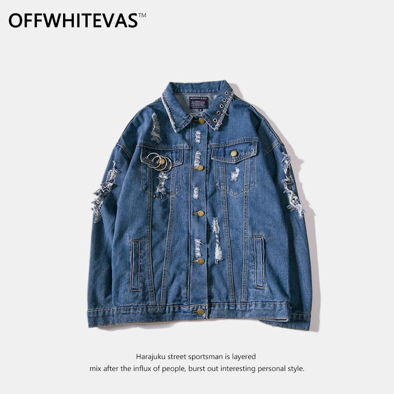 f331174d3dd Mens Hole Letter Embroidery Man Black And Blue Cowboy Jacket Korean Edition  Repair the Body Leisure Time Loose Coat Fashion Youth Jacket Blue Cowboy  Jacket ...
