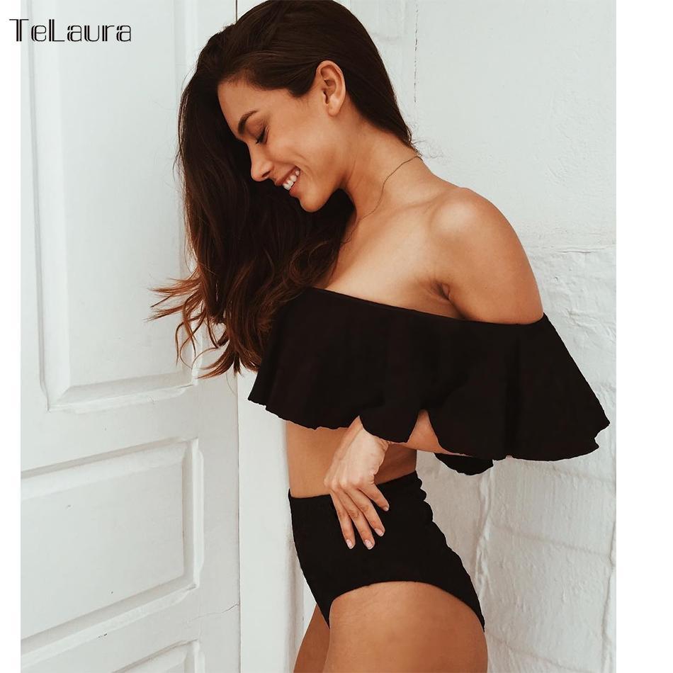 8d9dd0d2da10 2018 Sexy Bikini de cintura alta traje de baño de las mujeres Push Up  Ruffle Off hombro bañador de baño femenino Biquini traje de baño
