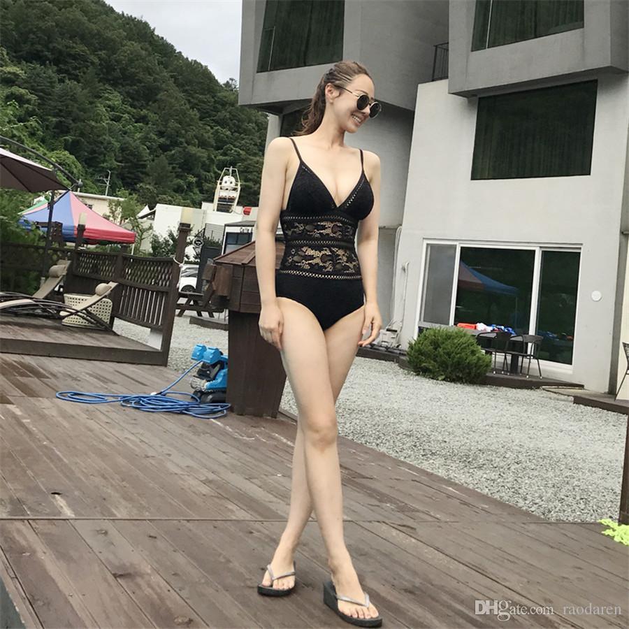 Women Swimwear Bikini Set One Piece 2018 Swimsuit Beachwear Solid Sexy Beach Swim Wear Suit Push Up High Waist Brazilian Black White Lace