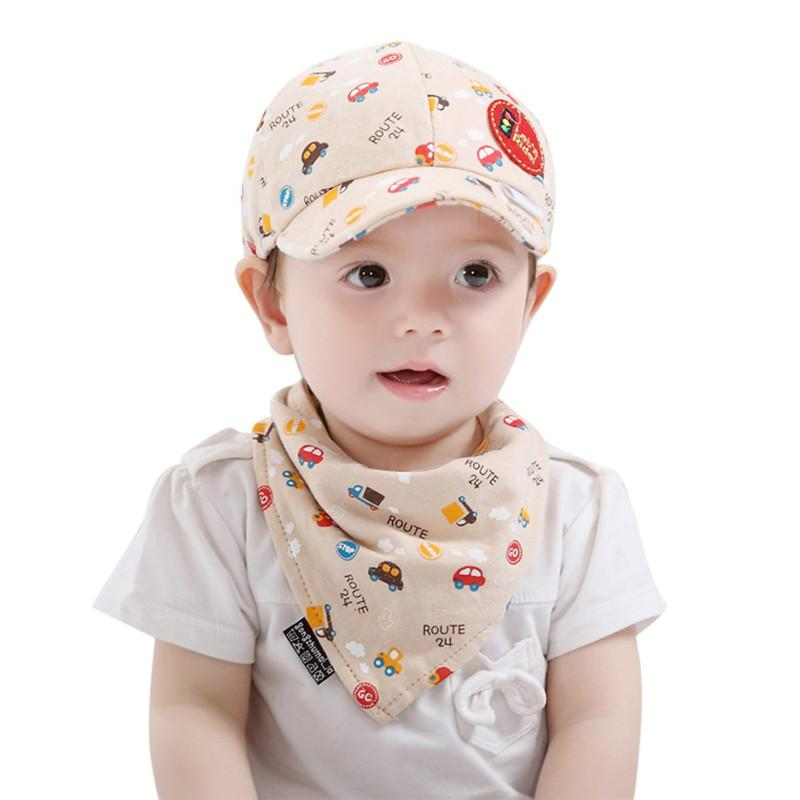 7071cccaa032 New 2PCS Baby Hat Toddler Unisex Boys Girls Cartoon Print Hat + Bibs Set  Infant Pinafore Bib baby accessories casquette enfant