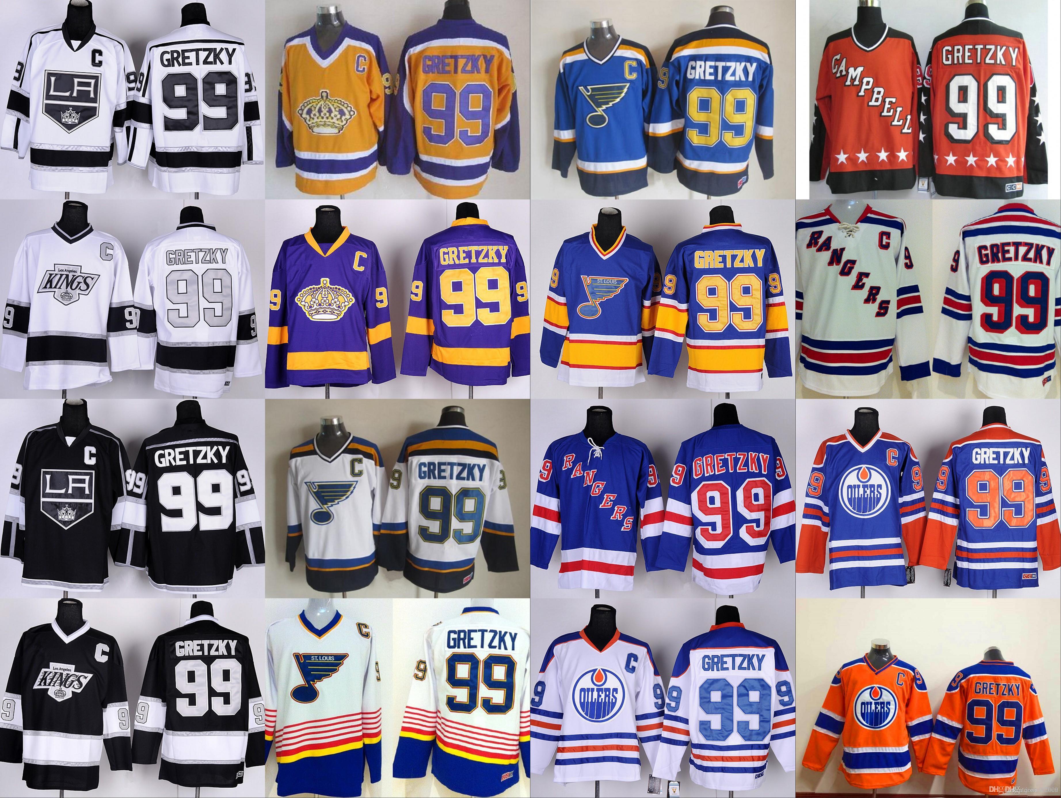2019 Los Angeles Kings  99 Wayne Gretzky Jerseys Hockey St. Louis Blues LA  Los Angeles Kings Vintage Blue White Black Yellow Orange From Jersey 2009 02ea6f7096ef