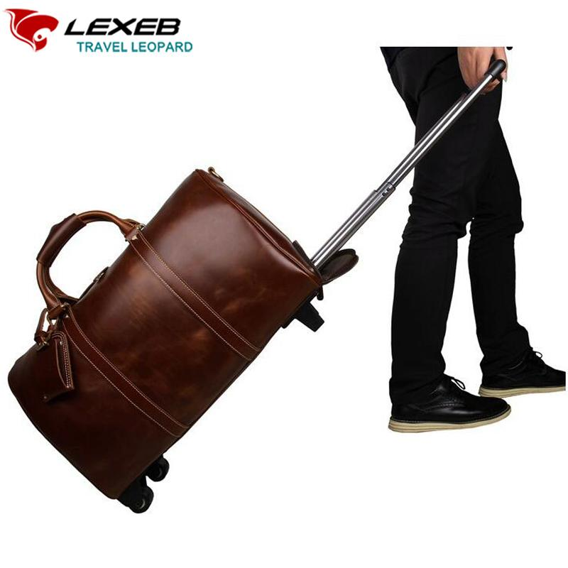 1141d94ea1 LEXEB Carry On Luggage Travel Bags Men s Genuine Leather Suitcases On  Wheels Road 21 Inch Business Handbag Luxury Design Coffee Womens Suitcase  Suitcase ...