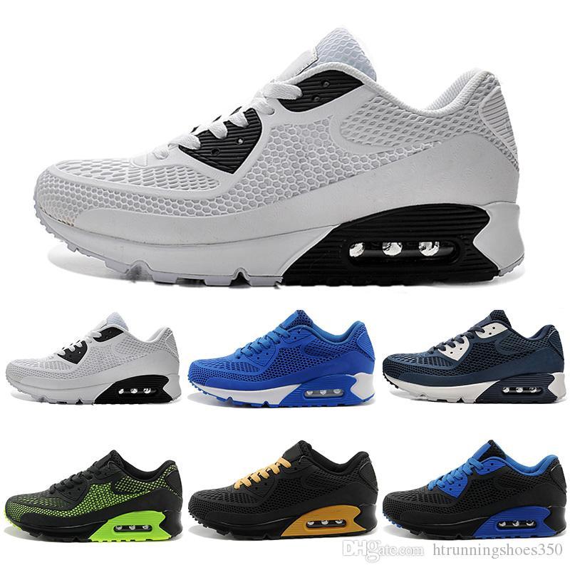 0c956811659 Compre Nike Air Max 90 KPU Airmax 2018 Nuevos Zapatos Casuales 90 KPU  Hombres Zapatillas De Deporte De Alta Calidad Todo Negro Cojín De Aire  Zapatos ...