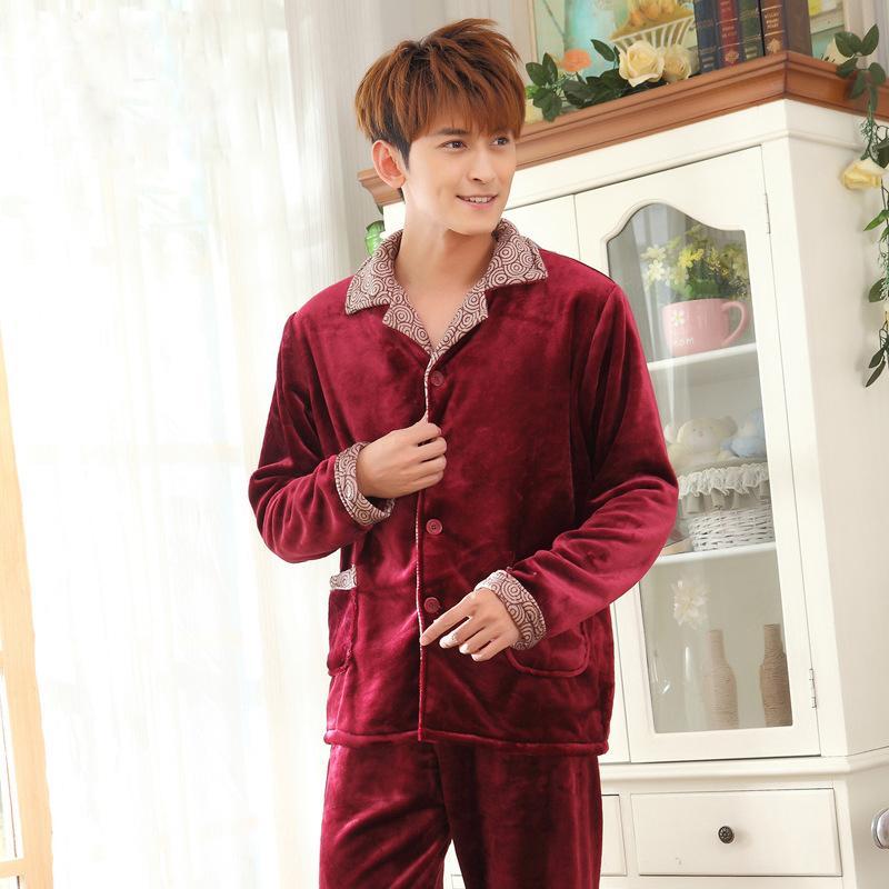 de590b126dad9 Acheter Mode Hommes Pyjamas Ensemble Nouveau Pijama Peignoirs Homme Robes  Grande Taille Épaississement Automne Hiver Flanelle À Manches Longues  Corail ...