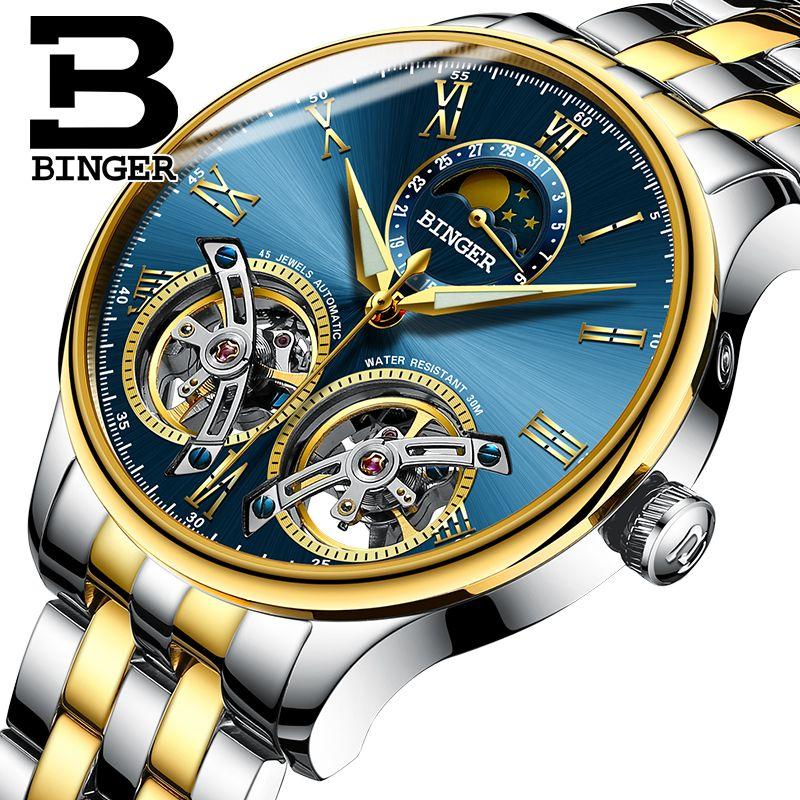 4124ff03b8c4 Швейцария Марка BINGER Top мужские часы роскошные спортивные часы  автоматические ...
