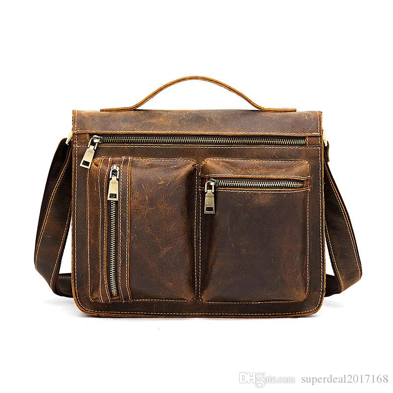 0c456c85c13a Crazy Horse Leather Men Fashion Casual Laptop Weekend One Shoulder ...