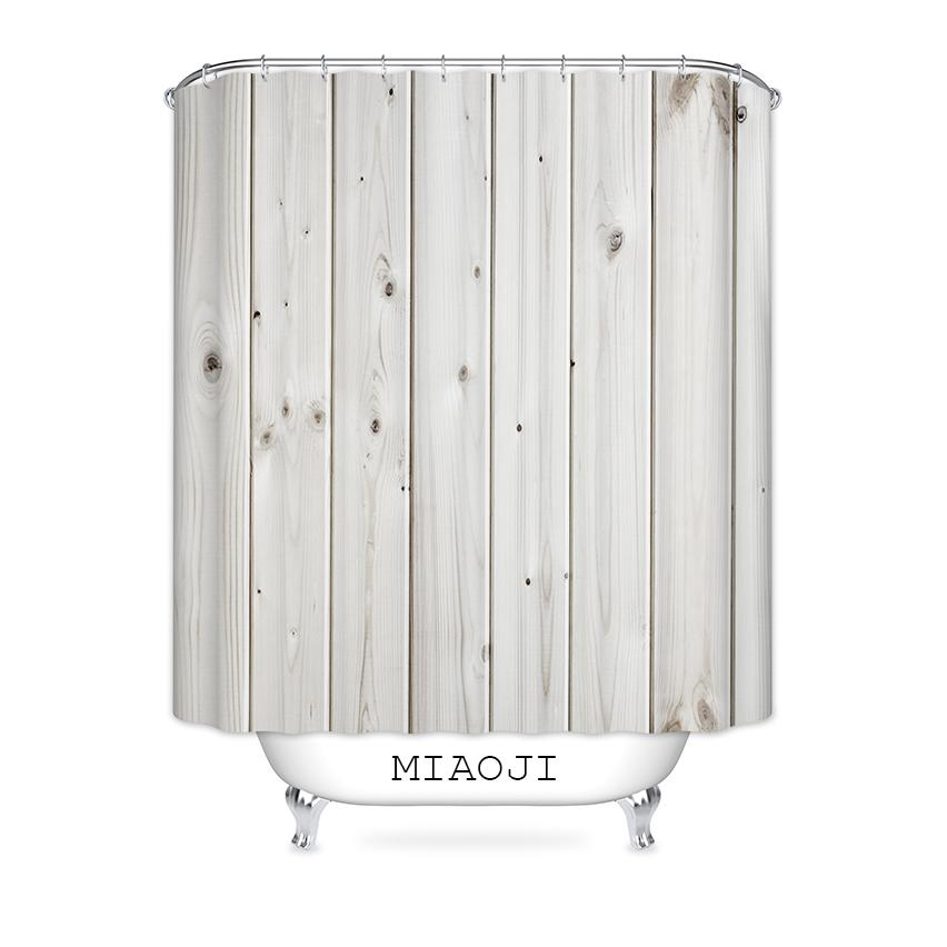 2019 MIAOJI Faux Wood Grain Shower Curtain Waterproof Polyester Fabric Bathroom Bath Screens Curtains Various Sizes From Hariold 3435