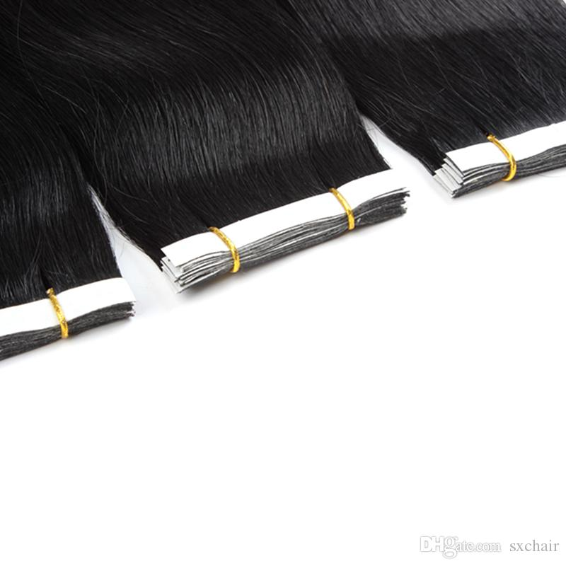 16'' 100% Brazilian Human PU EMY Tape Skin Hair Extensions 2.5g/pcs &100g/pack #1 jet black DHL FREE shpping