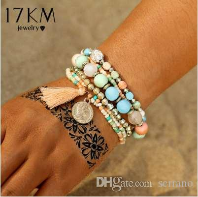 17KM Crystal Multicolor Bead Weave Tassel Bracelet Multilayer Coin Love Bracelets For Women 2018 Nuevo Pulseira Accesorios de regalo