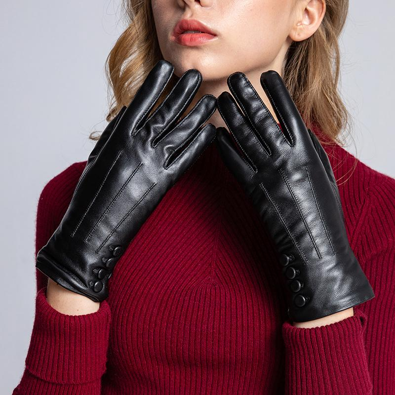 30b9384d8 2019 Sumusan Women'S Touch Screen Leather Gloves Winter Thick Warm Black  Gloves Lady Comfortable Button Sheep Leather Mittens From Fashionkiss, ...