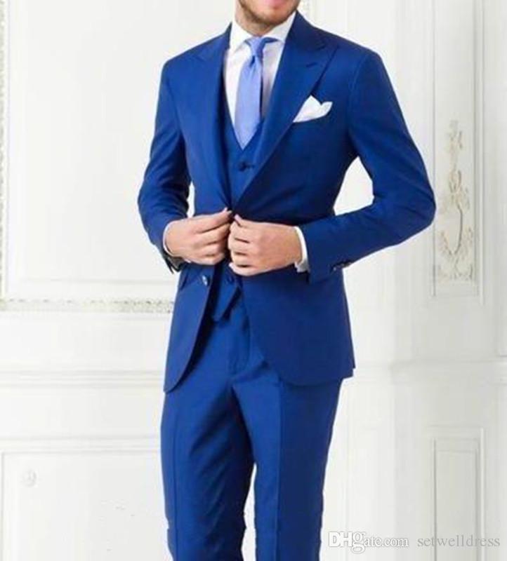 2018 Cheap Royal Blue Groom Tuxedos Peak Lapel Groomsmen Best Man Suits Mens Wedding Suits Custom Made Jacket+Pants+Vest+Tie