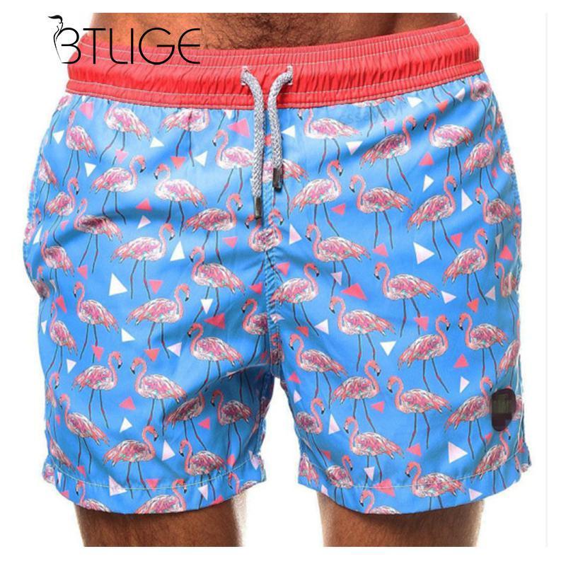 a4ad193d955 BTLIGE Plus Size Mens Surf Shorts Men Flamingo Printed Swim Trunks Man  Swimwear Bottoms 2018 Summer Blue Swimming Boxer Briefs