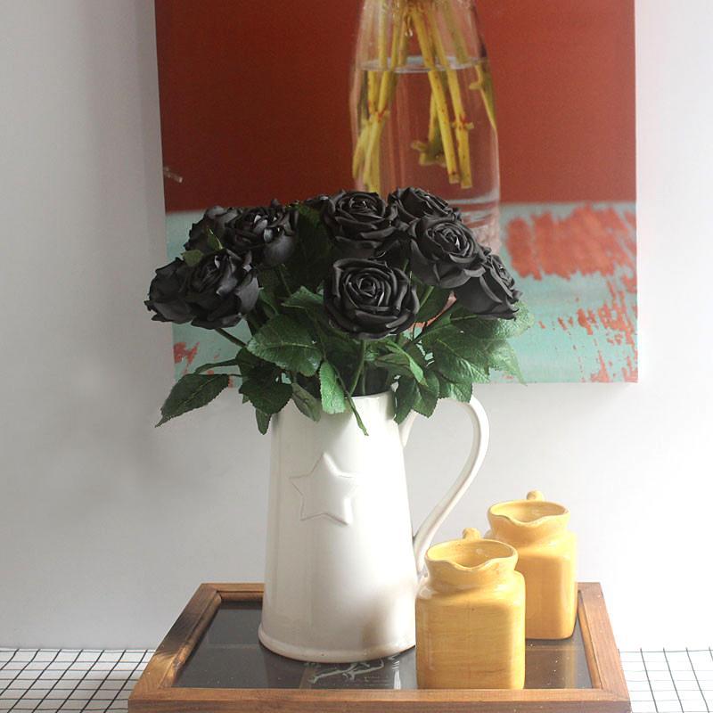 2019 Denisfen Elegant Single Black Rose Silk Flowers Artificial Fake