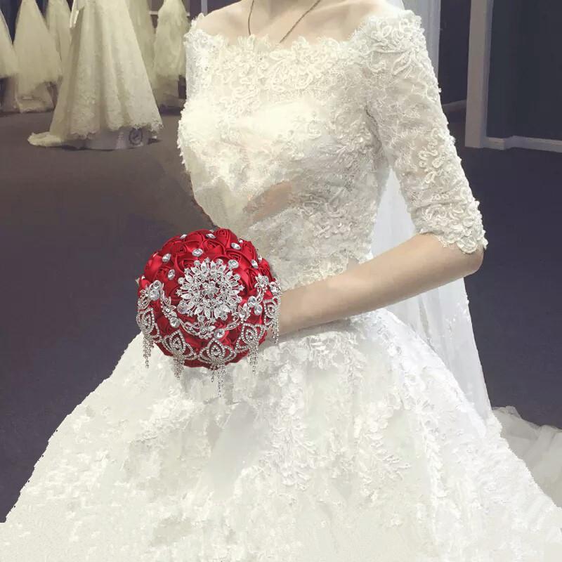 18CM Luxe Strass Bourgogne Mariage Bouquet De Mariée Fleur Artificielle Bouquet De Mariage Bouquet Ramos De Novia