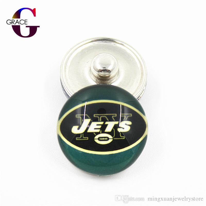 Football Team Sports Charms 18mm Replaceable Ginger Glass Snap Buttons For Snaps Women Bracelets&Bangles DIY Jewelry Accessory