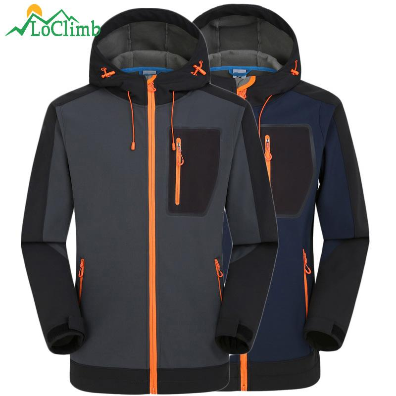 Loclimb Winter Wasserdichte Softshell Jacke Männer Angeln Klettern Winddicht Regen Mantel Fleece Trekking Ski Wandern Jacken, Am039