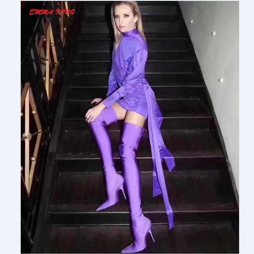 63c1d3598df Emma King Purple Thigh High Boots Candy Color Over The Knee Shoes Women  Sexy Thin High Heel Pointed Toe Elastic Sock Long Botas Girls Boots Black  Ankle ...