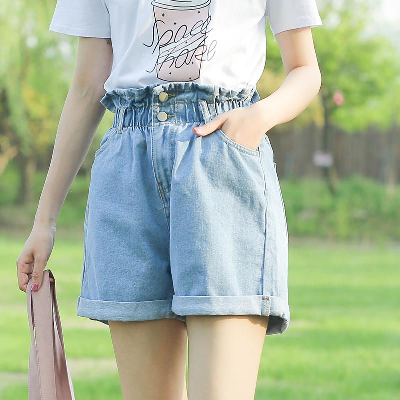 2af0aede1b933f 2019 Vetevidi Summer High Waist Loose Denim Shorts Female Loose Waist Was  Thin Curled Wide Leg Hot Pants 7635# From Ario, $26.34   DHgate.Com