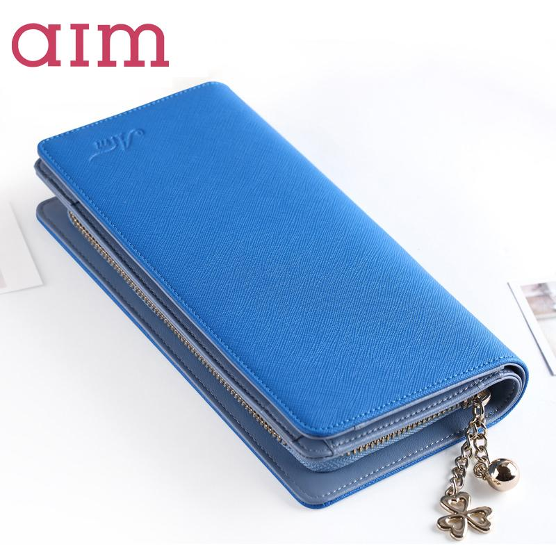 AIM Women Fashion Split Leather Wallets Lady Candy Color Patchwork Coin Purse Cell phone Pocket Female Card Holder Long Purse