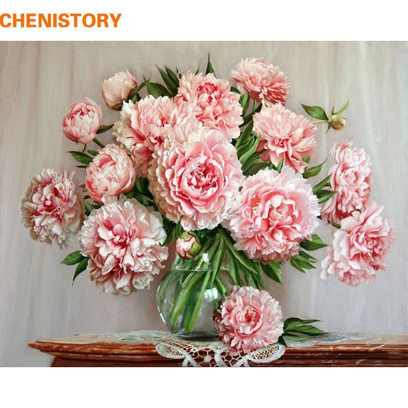 Großhandel Chenistory Kein Rahmen Diy Malen Nach Zahlen Rosa Blumen ...