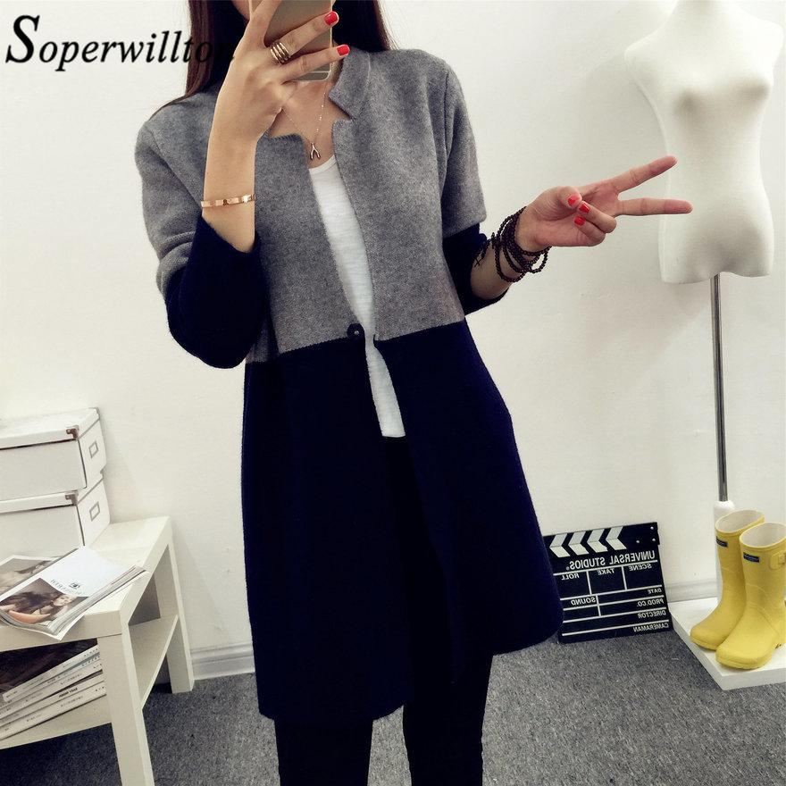 2019 2018 Autumn Knitting Loose Women S Cardigans Patchwork Long Sleeve  Simple Jumper Female Cardigan Sweaters Korea Style Coats  Y5 S1031 From  Ruiqi02 05fcedac4