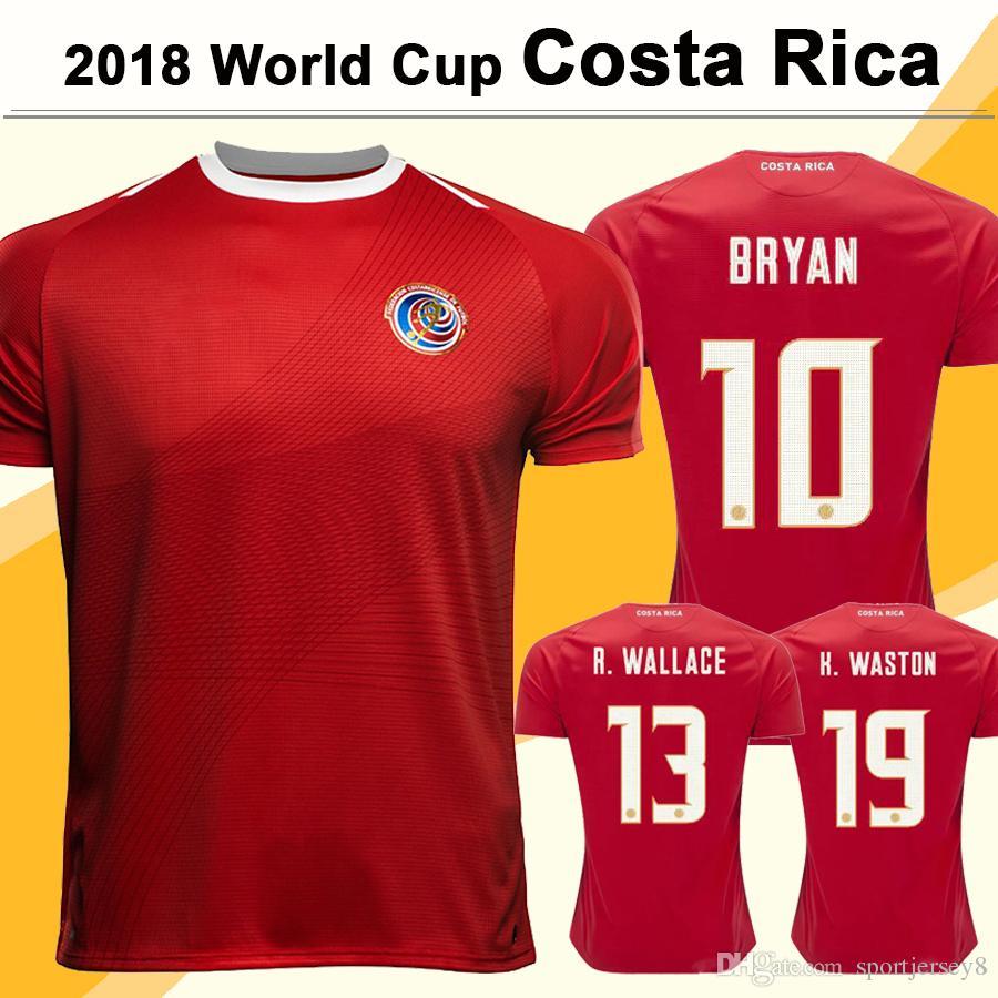 Satın Al 2018 Dünya Kupası Bryan Futbol Formalar Kosta Rika Milli Takım Ev  Kırmızı Erkek Kısa Futbol Gömlek K.Waston C.Borges R.Wallace Jersey 92dfa982a