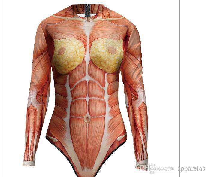 New Realistic Structure Of Human Body Ladies Long Sleeved Swimsuit