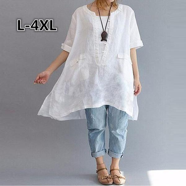 323bf434c0a Women Plus Size IrregulaCan As Zen Clothes Plus La Taille T ShirtsSize L 4X Floral  White Dress Womens Floral Dress From Strawberry9