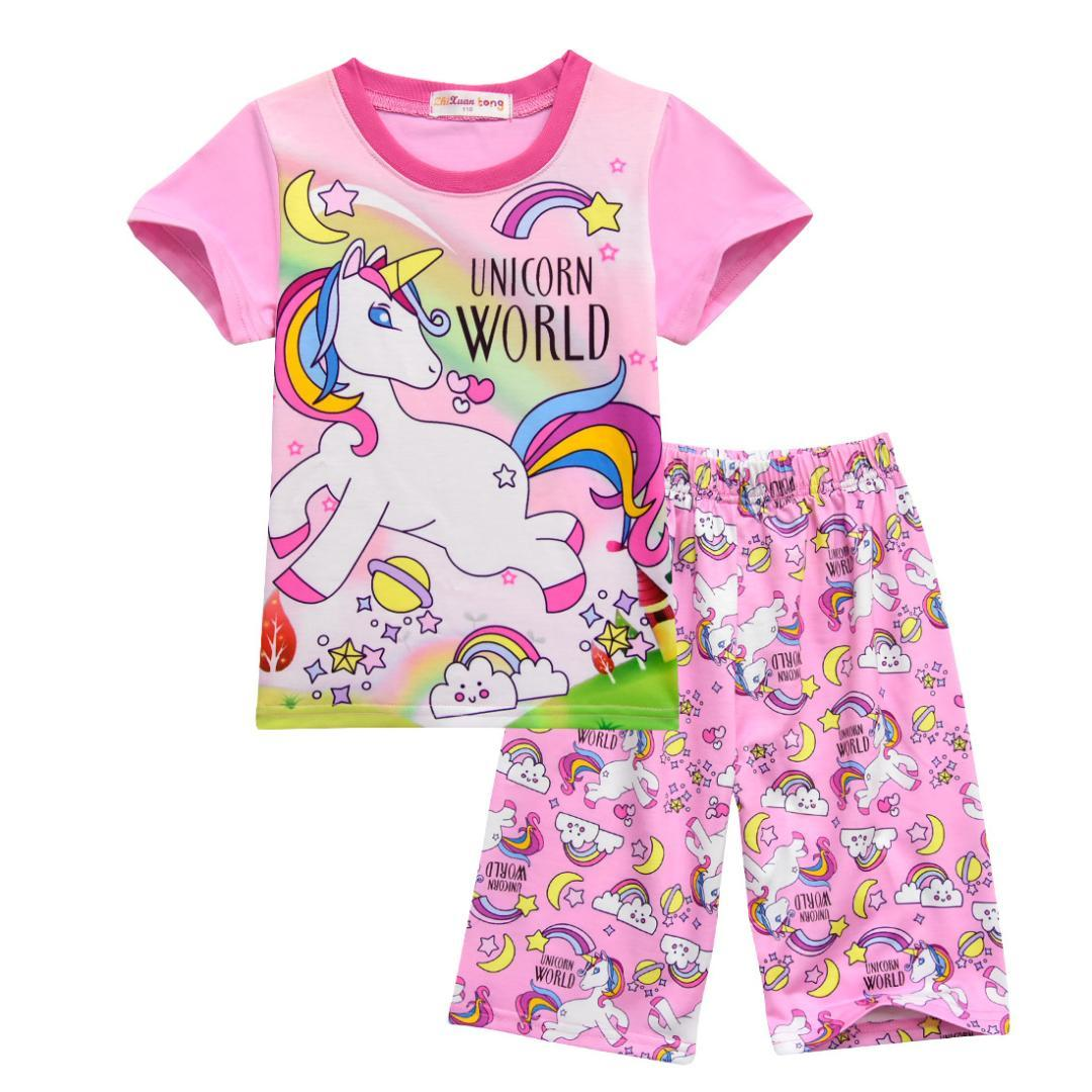 278ee89d5e Summer Girl Boy Children S Pajamas Baby Kids Pajama Set Animal Cartoon  Sleepwear Stitch Pink Unicorn T Shirt And Pants Cosplay Halloween Pajamas  For Kids ...