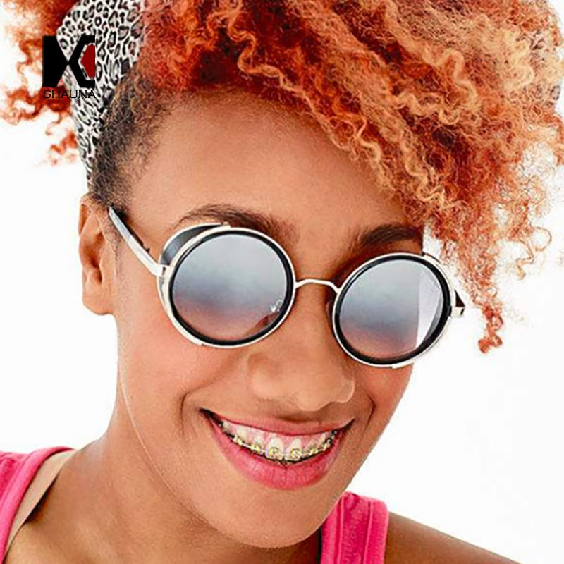 e35e207c6520 SHAUNA Vintage Women Steampunk Retro Pilot Black Round Sunglasses ...