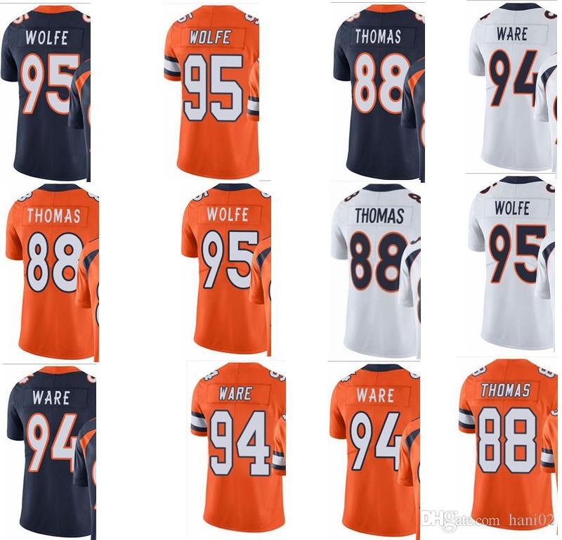 best authentic e243d 5c129 Bronco # 88 Demaryius Thomas # 94 DeMarcus Ware # 95 Derek Wolfe Hombres  Mujeres Youth Vapor Untouchable Color Rush Custom Elite Football Jersey